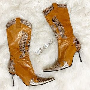 Bronx eagle brown Gold leather bling heel boots